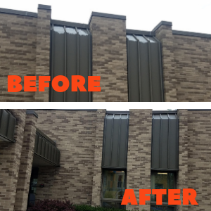 before and after photos of window awnings on the side of the building