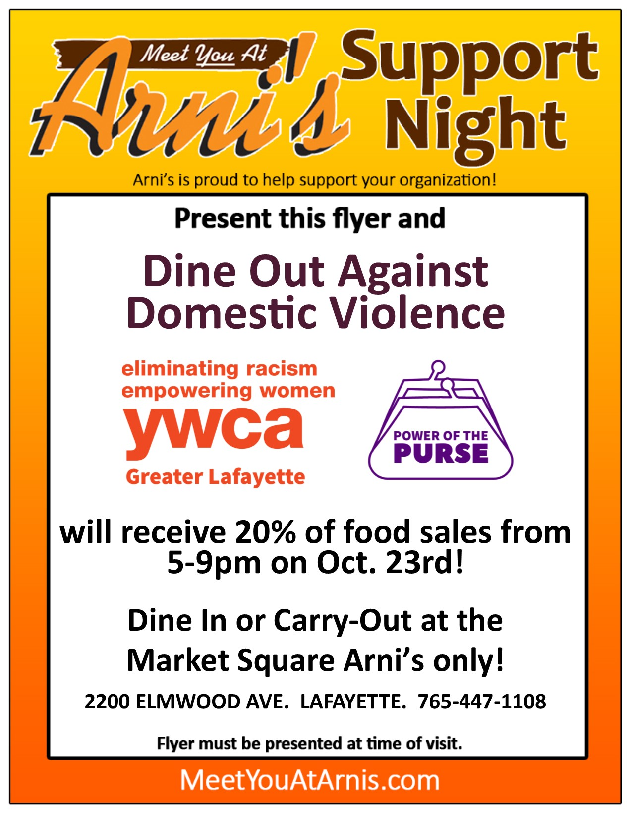 Arni's flyer to display for Dine Out Against Domestic Violence on Oct. 23, 2019