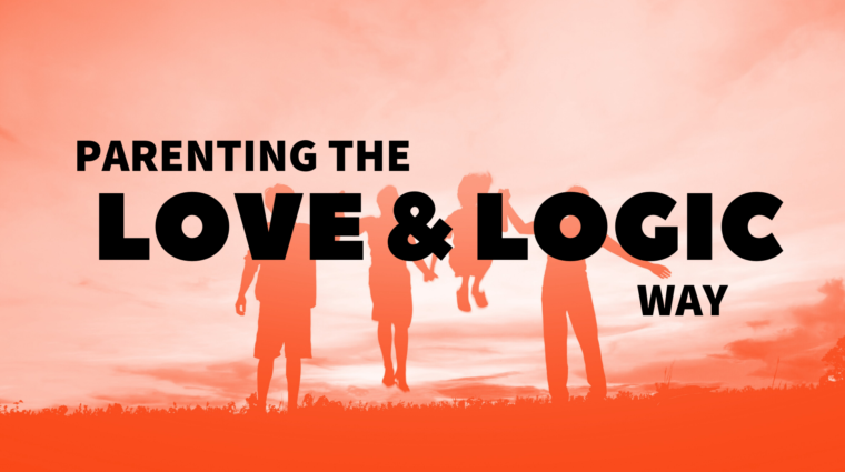 "orange and white image of a family's silhouettes (two adults and two children) playing, reads ""parenting the love & logic way"""