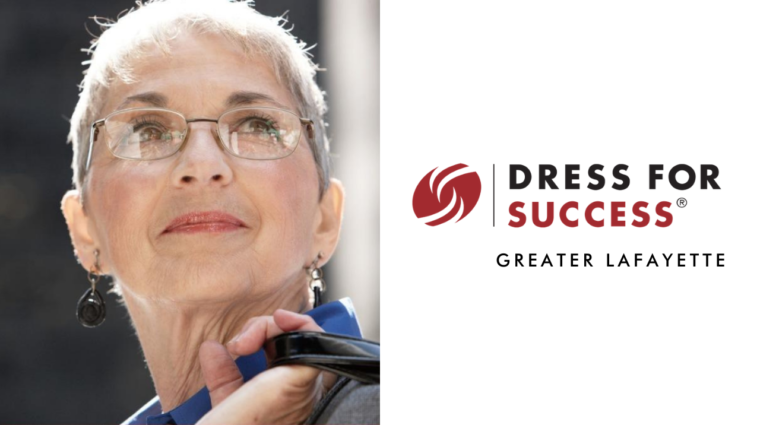 Dress for Success thumbnail video logo with empowered woman
