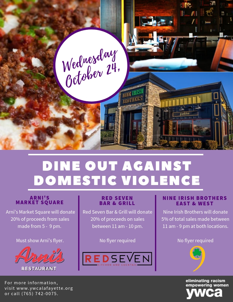 Flyer for Dine Out Against Domestic Violence. Restaurant images + details within post