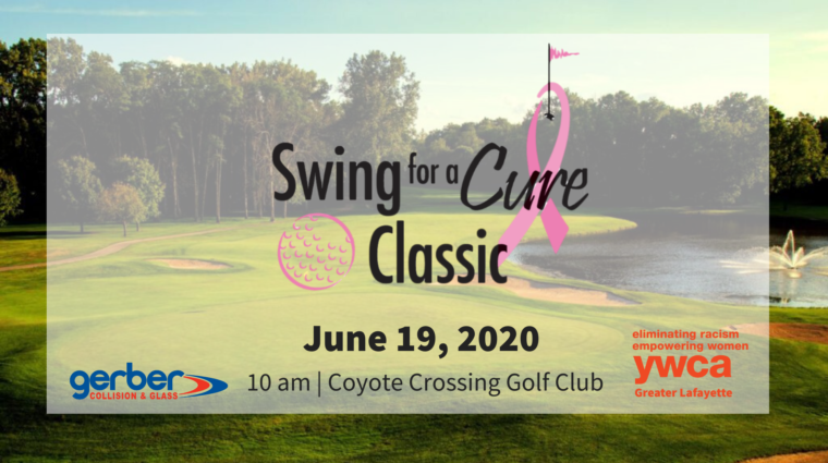 Swing for a cure logo superimposed over a photo of a the golf course