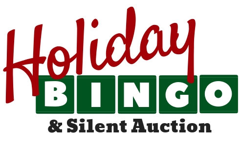 Holiday Bingo Logo, reads Holiday Bingo in red and green block text