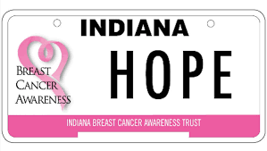 Indiana Breast Cancer Awareness Trust Licence Plate logo