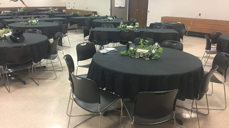 Fauber room tables set for an event