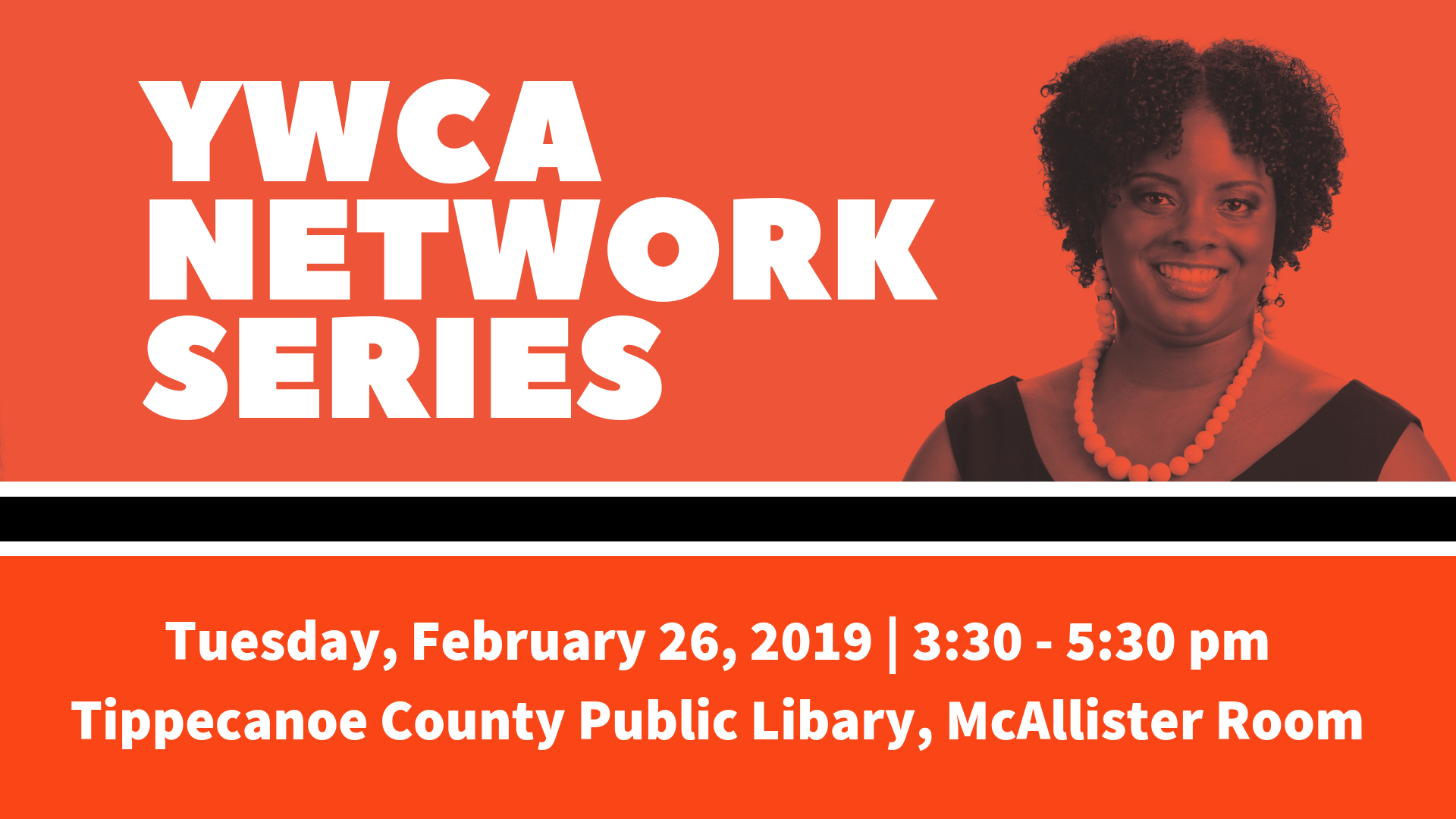 """YWCA Network Series"" in white alongside a photo of a Black woman in front of an orange background"