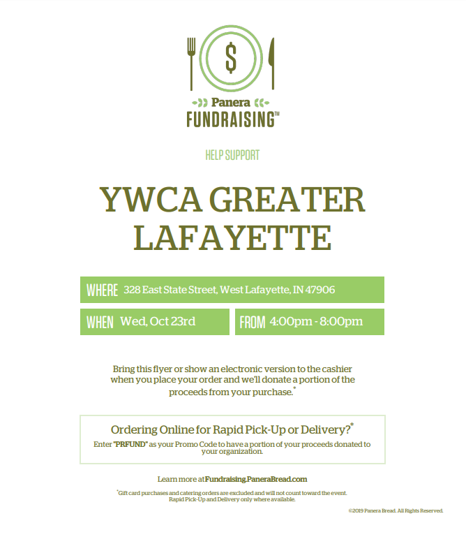 Flyer to show for Panera Bread Dine Out against domestic violence on October 23