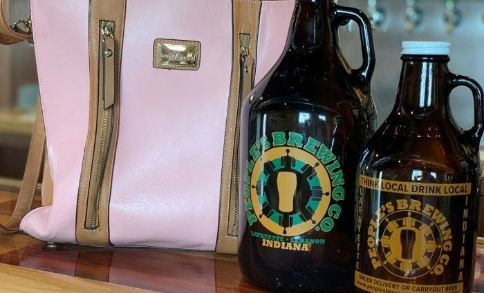 pink purse and growlers