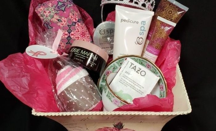 basket with self care items