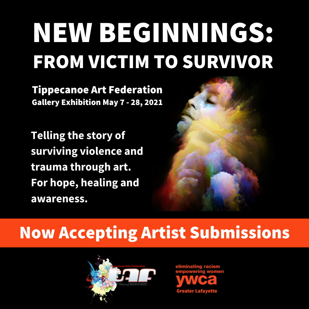 black background with new beginnings, from victim to survivor and colorful image of woman bursting through clouds now accepting art submissions