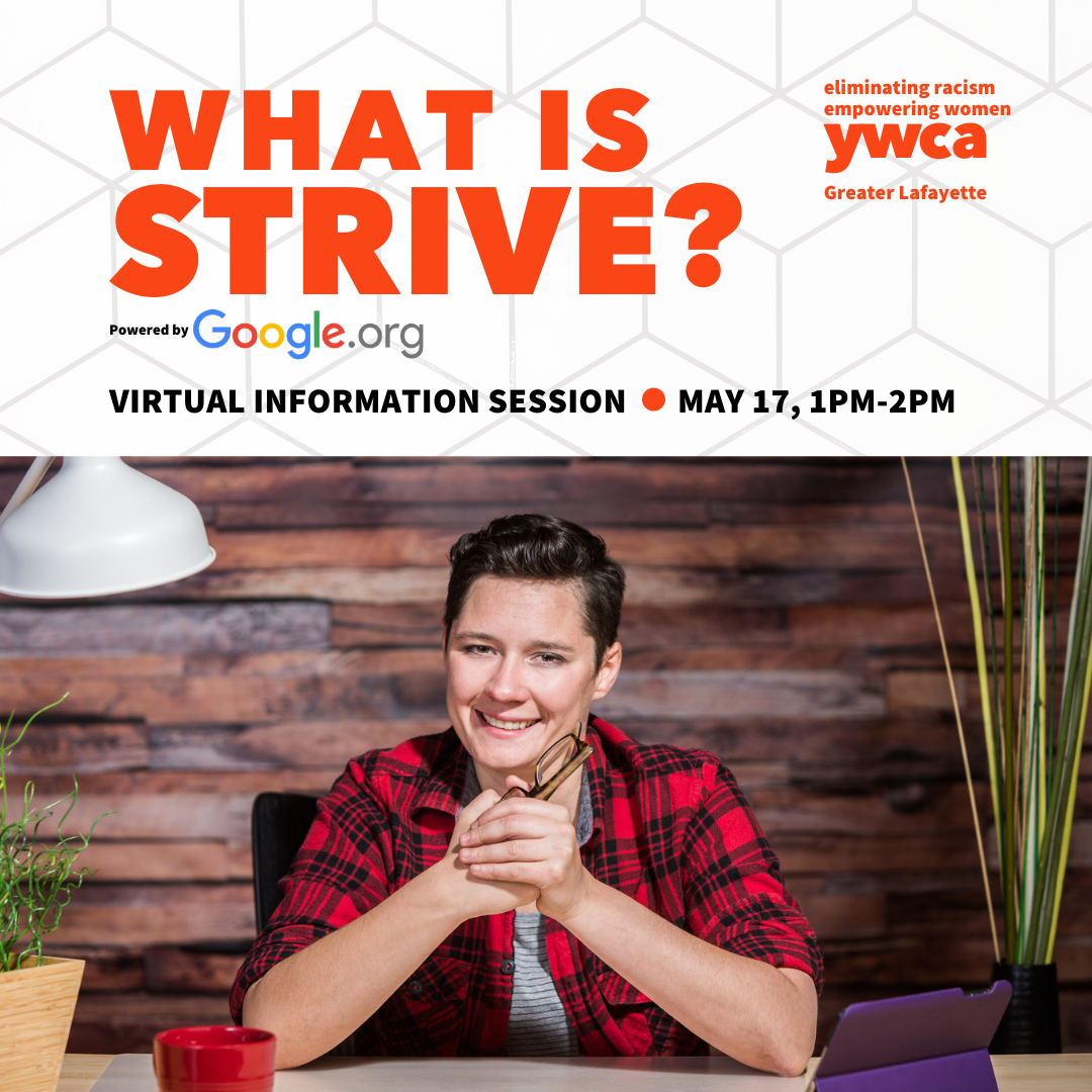 What is Strive information session with image of gender neutral person smiling