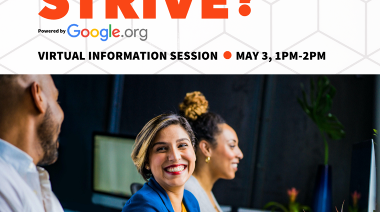 What is strive virtual information sessions may 3 1pm to 2pm diverse people smiling while working at laptops