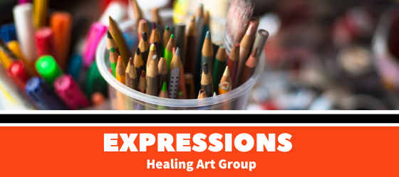 A photograph of a cup holding various color pencils and brushes, below it reads Expressions healing art group