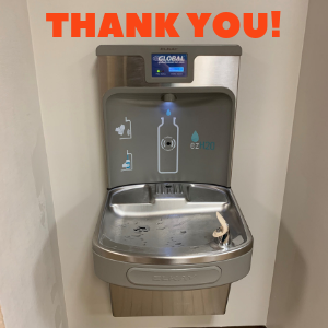 photo of a new water fountain and bottle filling station