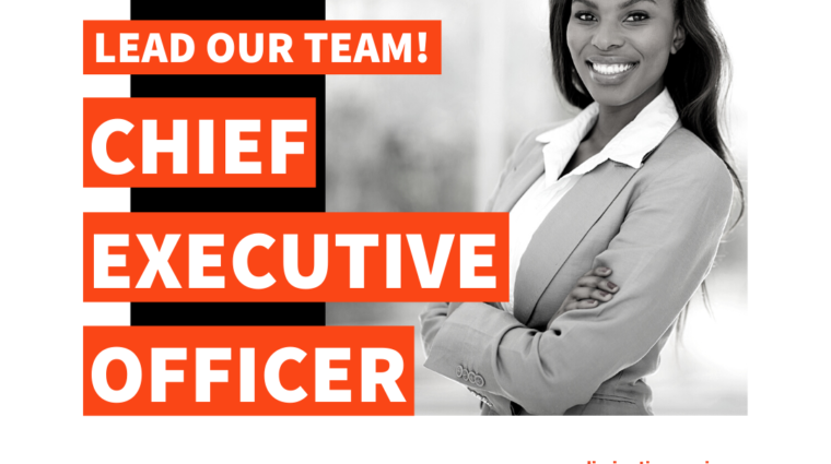 black and white photo of African American woman with the words Lead Our Team, Chief Executive Officer