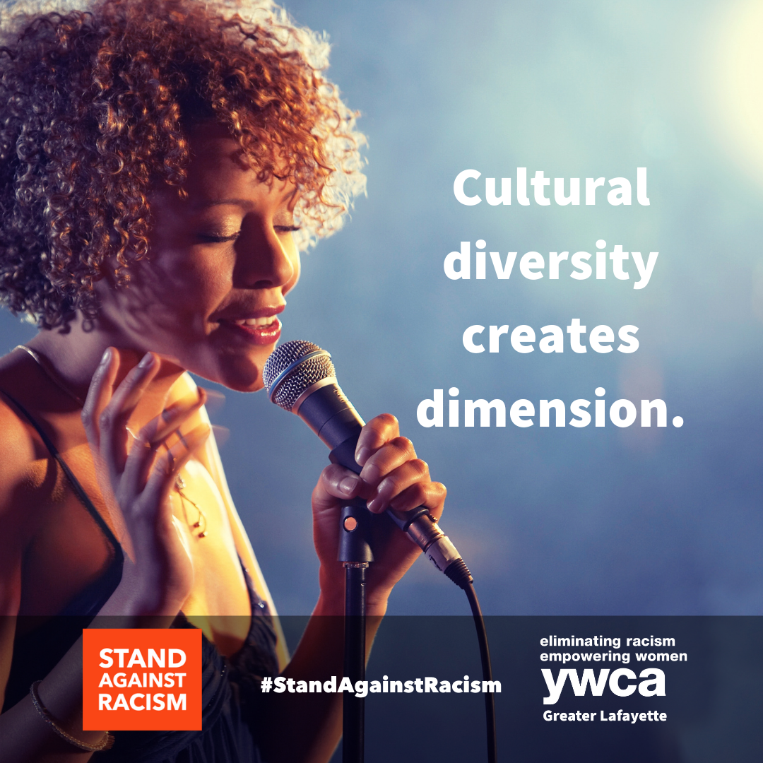 black woman singing next to the words cultural diversity creates dimension.