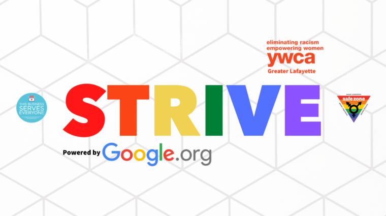 Strive ally video thumbnail logo against a white geometric backdrop