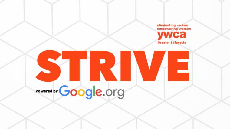 Strive general video thumbnail logo against a white geometric backdrop