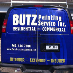 Photo of the back of Butz painting van.