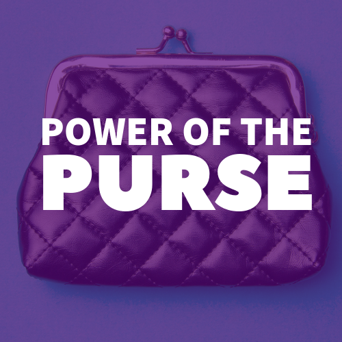 "A picture of a purse against a purple background, white letters across the purse read ""Power of the Purse"""