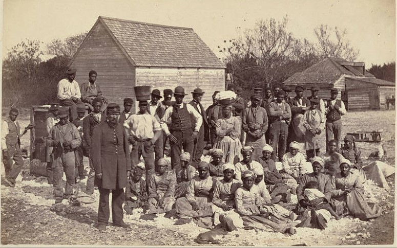 black and white photo of free former slaves in Galveston