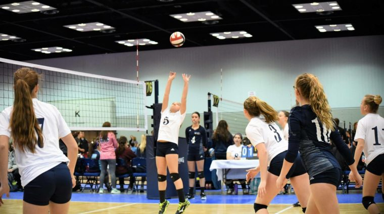 Volleyball players action shot